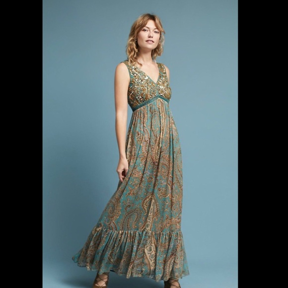 Anthropologie Dresses   Ranna Gill Turquoise Sequin Paisley Gown ...